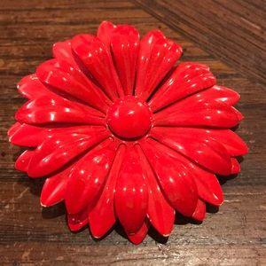 Vintage red enameled metal flower brooch
